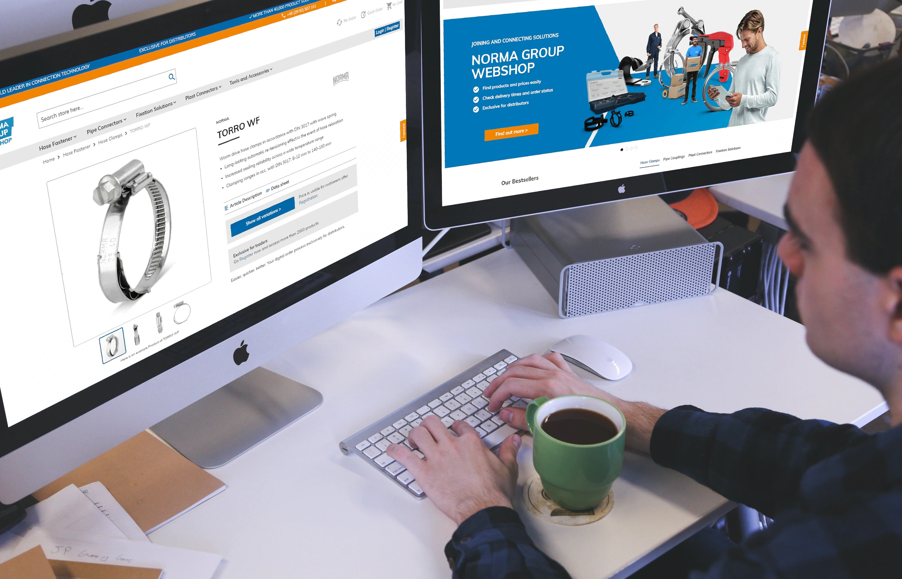 The NORMA Group Webshop offers arond 3,000 products (image: smartmockups.com)